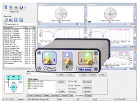 Analizator wektorowy MegiQ VNA-0460e 400MHz – 6GHz 2½-portowy VNA z Bias Generatorem