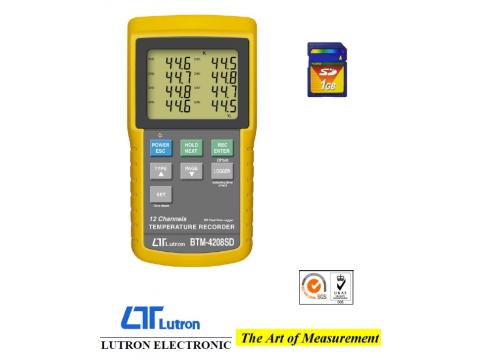 Rejestrator temperatury 12-kanałowy LUTRON, rejestracja danych na karcie pamięci SD